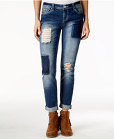 Vanilla Star Juniors' Lace Patchwork Cropped Cuffed Jeans