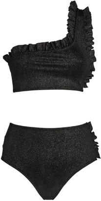 Leslie Amon Tamini Metallic Ruffle Bikini Set