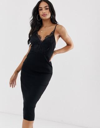 Asos Design DESIGN midi cami rib bodycon dress with lace top-Black