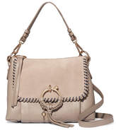 See by Chloe Joan Small Whipstitched Suede-paneled Textured-leather Shoulder Bag - Gray