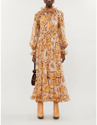 Zimmermann Super Eight floral-pattern silk-crepe midi dress