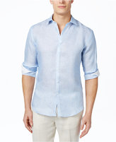 Tasso Elba Men's Marbled 100% Linen Long-Sleeve Shirt, Only at Macy's