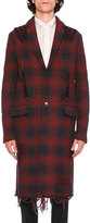 Valentino Love Blade Distressed Plaid Single-Breasted Overcoat, Navy