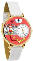 Whimsical Watches Women's G0620040 Unisex Gold Nurse Red White Skin Leather And Goldtone Watch