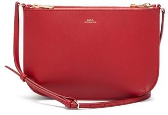 A.P.C. Sarah Saffiano-leather Cross-body Bag - Dark Red