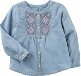 Osh Kosh Oshkosh Long Sleeve Embroidered Chambray Top - Preschool Girls