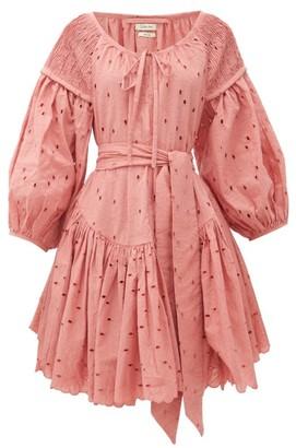 Innika Choo Meg Nettick Floral-embroidered Dress - Womens - Pink