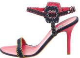 Alberta Ferretti Leather-Trimmed Denim Sandals