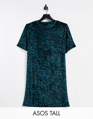 Asos Tall ASOS DESIGN Tall padded shoulder short sleeve T-shirt mini dress in dark teal velvet leopard print
