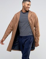 Asos Single Breasted Overcoat In Camel