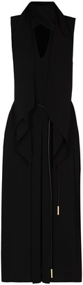Fendi Pussy-Bow Sleeveless Midi Dress