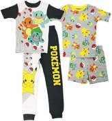 AME Sleepwear Pokemon Big Boys 4 pc Cotton Pajama Set