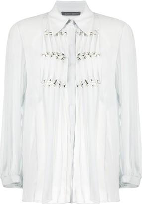 Alberta Ferretti Sheer Ruffled Shirt