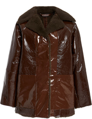 Kassl Reversible Cropped Leather-Trimmed Faux Shearling Coat