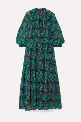 Apiece Apart Dubrovnik Tiered Printed Silk-chiffon Dress - Green