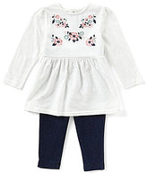 Starting Out Baby Girls 12-24 Months Floral-Embroidered Top & Solid Leggings Set