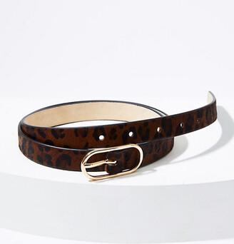 LOFT Leopard Print Haircalf Oval Buckle Belt