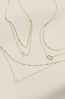 francesca's Brushed Layered Initial Necklace - G