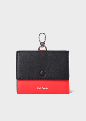 Paul Smith Black and Red Leather Straw-Grain Clip-On Coin Pouch