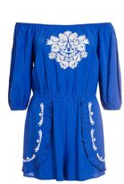 Quiz Blue And White Embroidered 3/4 Sleeve Playsuit