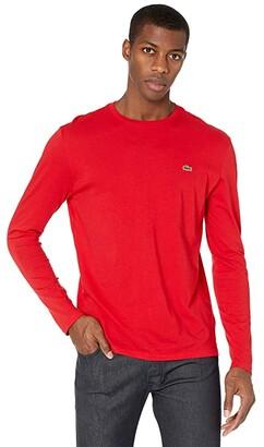 Lacoste Long Sleeve Pima Jersey Crew Neck T-Shirt (White) Men's T Shirt
