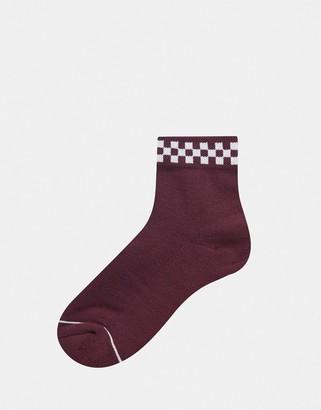 Vans Peek-A-Check sock in burgundy