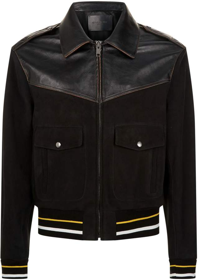 Givenchy Leather Stripe-Trim Bomber Jacket