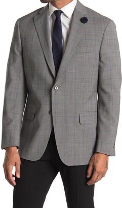 Hart Schaffner Marx Black White Blue Windowpane Print Two Button Notch Lapel Wool Suit Separates Blazer