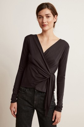 Velvet by Graham & Spencer Janessa Tencel Long Sleeve Faux Wrap Top