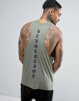 Asos Sleeveless T-Shirt With Back Print And Racer Back