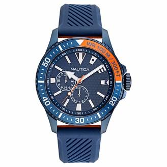 Nautica Men's NAPFRB020 Freeboard Multifunction Black/Silver Silicone Strap Watch