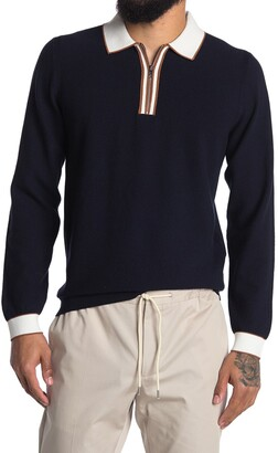 Reiss Mauritizio Long Sleeve Textured Polo