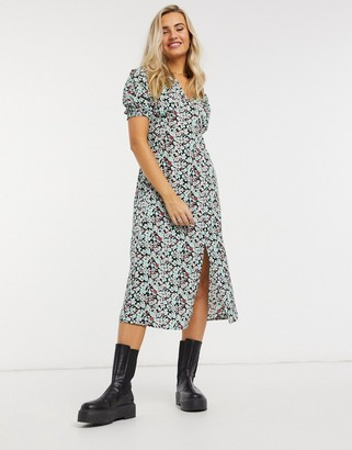 New Look crew neck midi dress in blue floral pattern