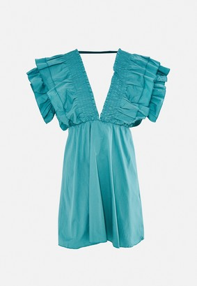 Missguided Sage Plunge Frill Sleeve Skater Dress