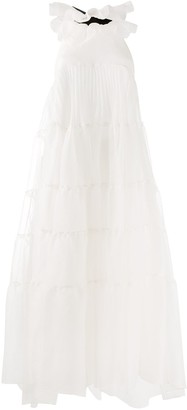 Rochas Ruffle Flared Midi Dress