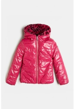 GUESS Big Girls Reversible Shiny Slick Look Quilted Nylon Puffer Jacket