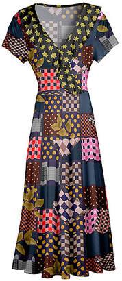 Lily Women's Maxi Dresses BLK - Black Patchwork Ruffle-Trim Surplice Maxi Dress - Women & Plus