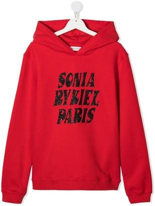 Sonia Rykiel Enfant TEEN glitter logo print hoodie