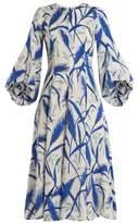 Andrew Gn Rye-print puff-sleeved silk-georgette midi dress