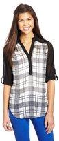 Amy Byer A. Byer Juniors Shirt Mandarin Collar 3/4 Rolltab Sleeve Shirt