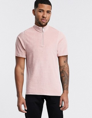 Topman co-ord towelling polo in pink