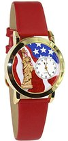 Whimsical Watches Women's C1228001 July 4th Patriotic Red Leather Goldtone Watch