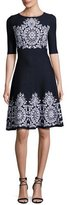 St. John Nellore Jacquard Knit Flared Dress, Navy
