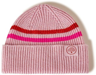 Mulberry Beanie Neon Stripe Icy Pink and Neon Pink