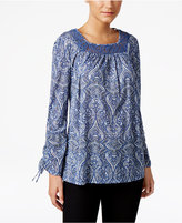 Style&Co. Style & Co Paisley-Print Lace-Trim Top, Created for Macy's