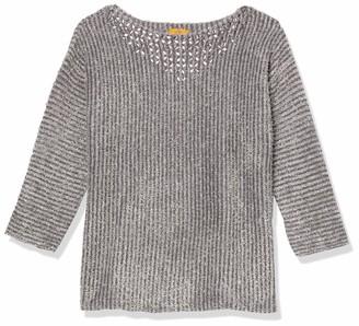 Ruby Rd. Women's Petite Size Long Sleeve Metallic Eyelash Sweater