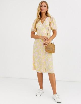 Faithfull The Brand Faithfull fran floral wrap midi dress with short sleeves-Yellow
