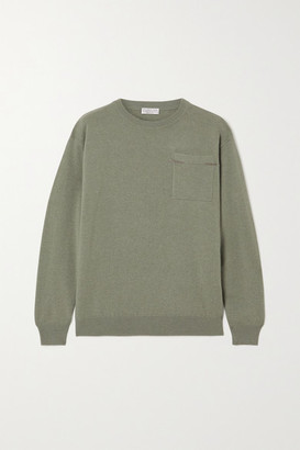Brunello Cucinelli Bead-embellished Cashmere Sweater - Green