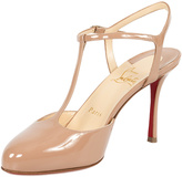 Christian Louboutin Beige Me Pam T-Strap Patent Leather Pump