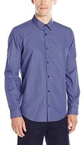 Calvin Klein Men's Tonal Mini Check Long Sleeve Button Down Shirt